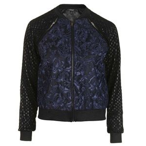 NWOT Topshop Mesh and Lace Bomber jacket